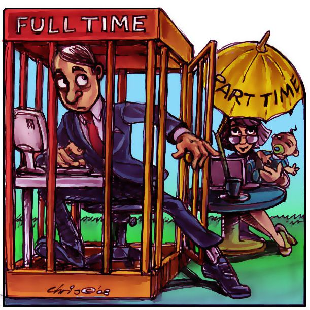 working part time A part-time contract is a form of employment that carries fewer hours per week than a full-time jobthey work in shifts the shifts are often rotational workers are considered to be part-time if they commonly work fewer than 30 hours per week.